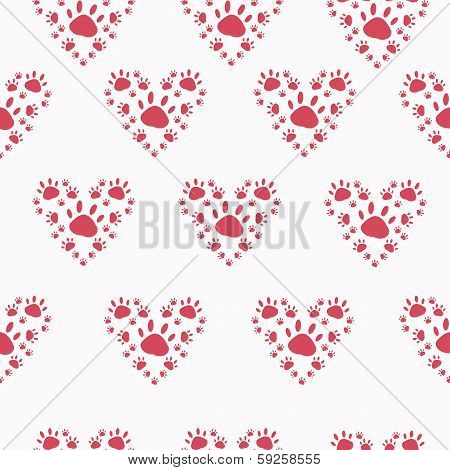 Trace a pet in the shape of a heart on solid background poster