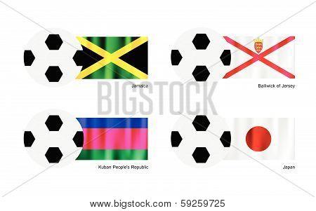 Football With Jamaica, Bailiwick Of Jersey, Kuban And Japan Flag