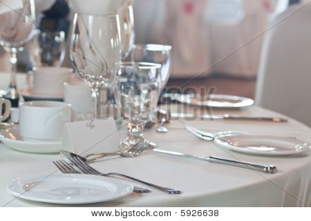 Closeup Of Wedding Placesetting With Blank Placecard