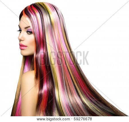 Beauty Fashion Model Girl with Colorful Dyed Hair. Colourful Long Hair. Portrait of a Beautiful Girl with Dyed Hair, professional hair Coloring