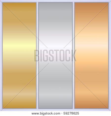Vector metallic texture banner templates