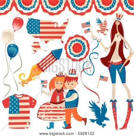 Fourth of July Patriotic Design Set.
