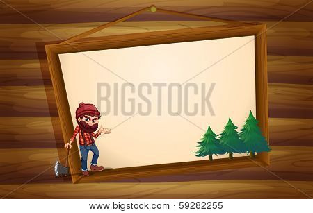 Illustration of a hanging wooden frame with a woodman