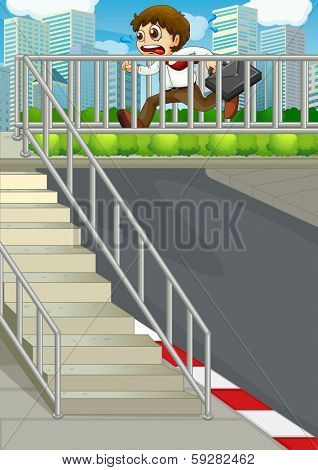 Illustration of a tardy businessman at the hiway