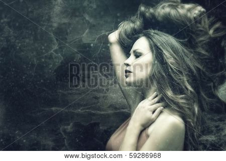 beautiful fantasy woman with long fluttering hair