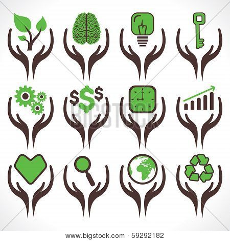 illustration of different icon in hand  stock vector