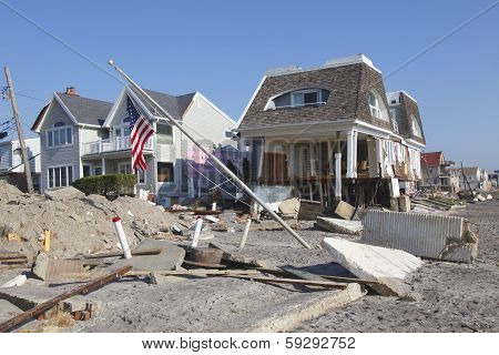 Destroyed beach houses in the aftermath of Hurricane Sandy in Far Rockaway, NY.