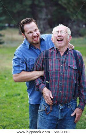 Man Inflicting Pain On Senior