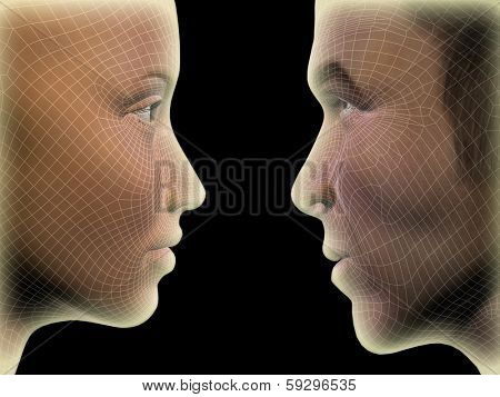 Concept or conceptual 3D wireframe human male or female head isolated on black background, metaphor to technology, cyborg, digital, virtual, avatar, model, science, love, relation or future