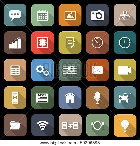 Application Flat Icons With Long Shadow