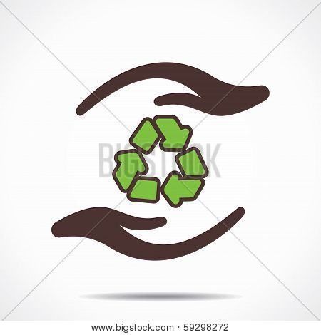 Illustration of recycle symbol in hand stock vector
