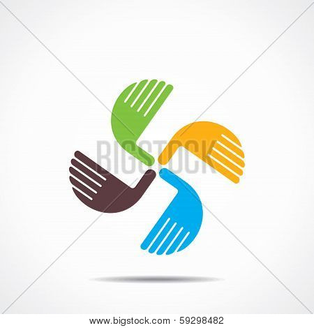 illustration of creative hand icon, arrange hand and make square shape  stock vector