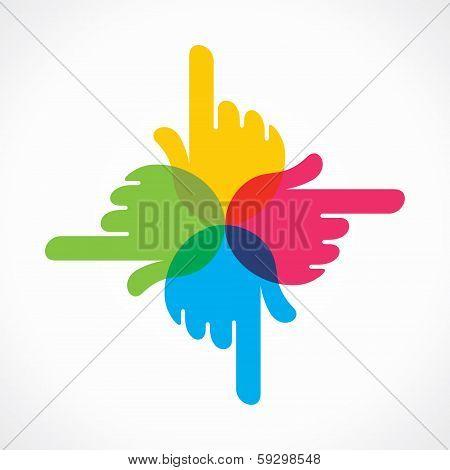 creative colorful hand icon design