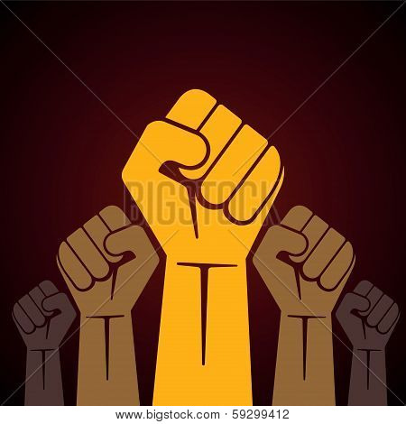 illustration of clenched fist held high in protest stock vector