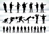 Collection of business people outlines in different positions, mainly in the theme of presentation and running - raster version of vector illustration poster