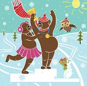 One brown bear champion standing on pedestal. It congratulates the bear female.Competitions in winter sports. Awarding of the winners.Snow-covered landscape.Humorous illustration cartoon poster