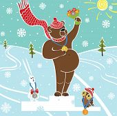 One brown bear champion standing on pedestal. Competitions in winter sports. Awarding of the winners.Snow-covered landscape.Humorous illustration cartoon poster