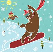 One brown bear jumps on a snowboard. Against the blue sky and landscape. Winter sports. Humorous vector illustration poster