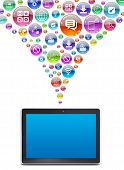 Tablet PC and application icons. The concept of software poster