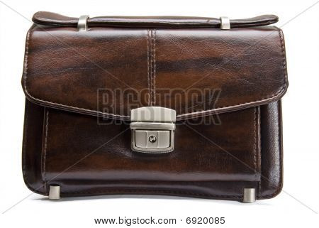 Leather Man Bag Isolated On White