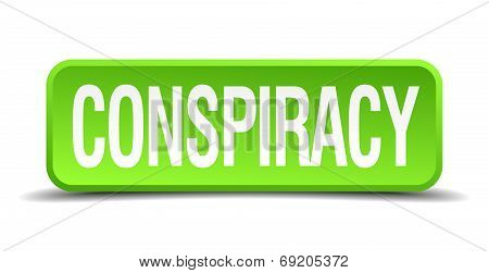 Conspiracy Green 3D Realistic Square Isolated Button