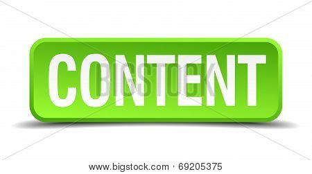 Content Green 3D Realistic Square Isolated Button