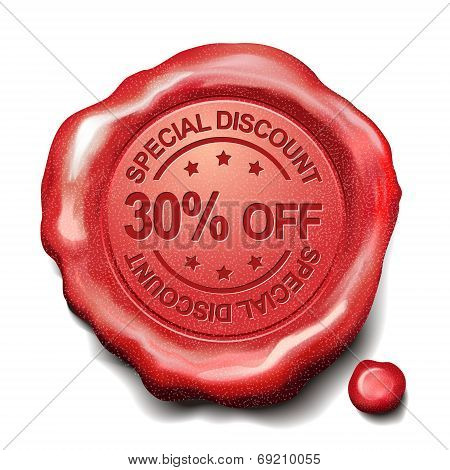 30 Percent Off Red Wax Seal