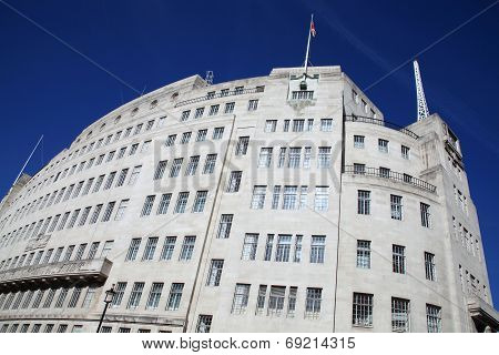 BBC Broadcasting House built in an art deco style in1932, in Portland Place, Regent Street, London, England, UK was the original headquarters of the British Broadcasting Corporation poster