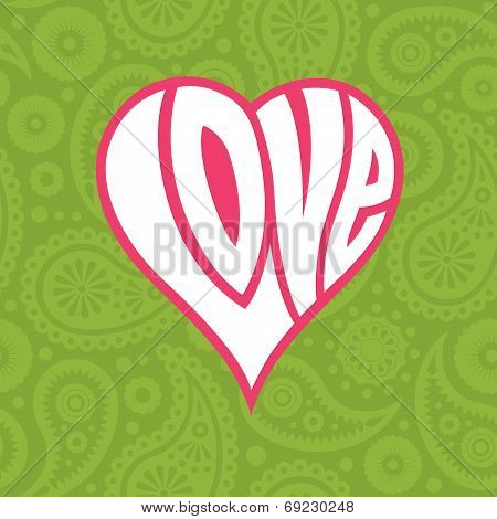 Love heart on seamless paisley background