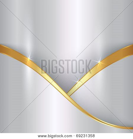 Vector abstract precious metallic background with curvess