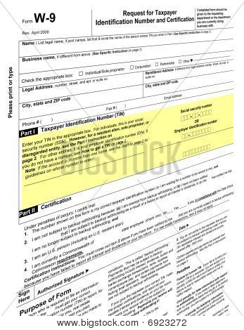 Empty W-9 Form, Tax Paying