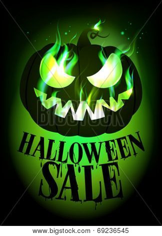 Halloween sale design with scary pumpkin. Eps10