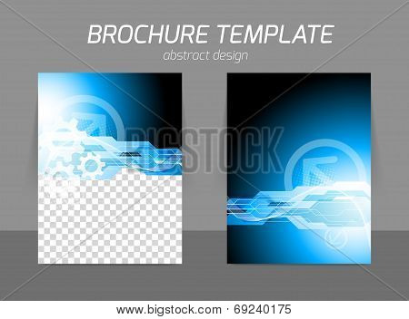 Tech industrial digital design for flyer in blue color with gears poster