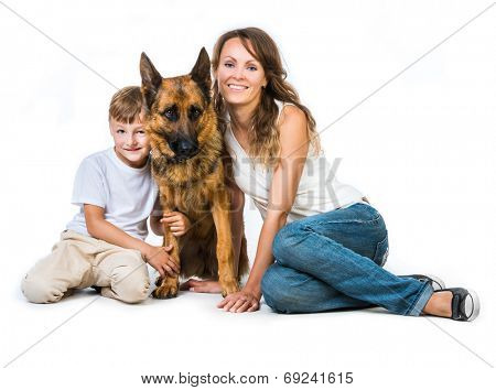lovely family: mother with son and their shepherd isolated on white poster