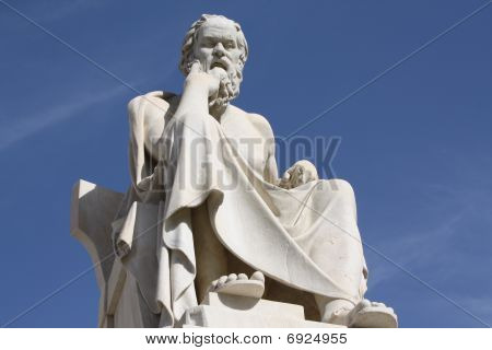 Neoclassical statue of ancient Greek philosopher Socrates outside Academy of Athens in Greece. poster