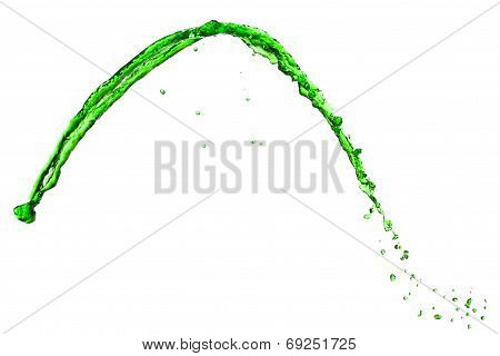 flying spray green liquid on white background poster