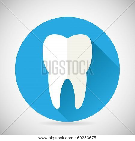Stomatology and Dental Treatment Symbol Tooth Icon with long shadow on Stylish Background Modern Fla