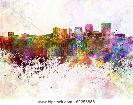 Dayton Skyline In Watercolor Background