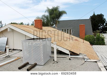 Home Roof Construction Site. Removal of old roof and replacement with all new materials. Roofs are an important part of any home, keeping it safe and dry from the elements and nosy neighbors.