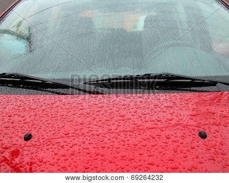 Rain Drops On A Car Windshield