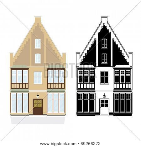 19th century town house vector illustration. Town house from late 19th century, color and monochrome black versions on separate layers.