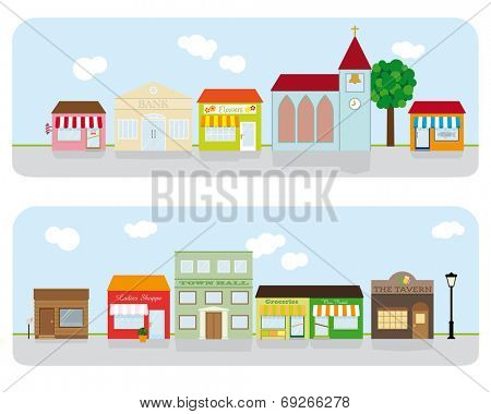 Village Main Street Neighborhood. Vector Illustration of small town main street with shops, church, bar and public buildings. All objects are grouped, text on separate layer.