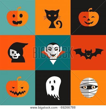 Halloween cute set of icons - pumpkin, black cat, ghost, Dracula, skull, zombi
