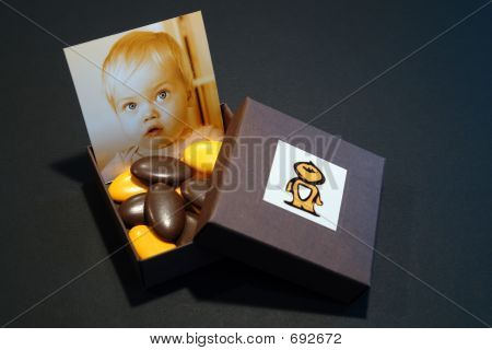 Birth Announcement Box With Portrait And Sweets