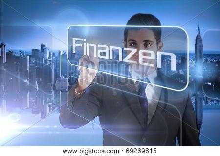 Businessman presenting the word finance in german against mirror image of city skyline