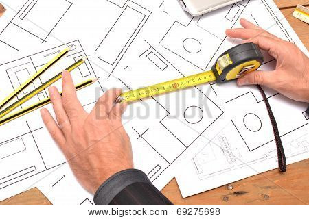 Top view of architect drawing on architectural project