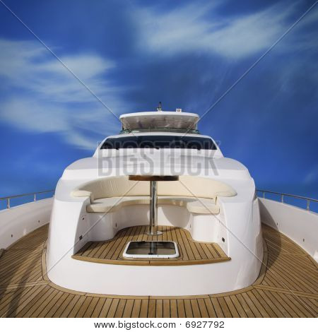 Rear view of the super yacht with view of the overhead deck. Image with clipping path poster