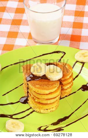 Heart Shaped Pancakes With Chocolate And Banana