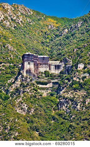 Simonopetra medieval Orthodox monastery at Mount Athos, Agion Oros (Holy Mountain), Chalkidiki, Greece. poster