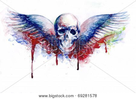 skull with wings emblem